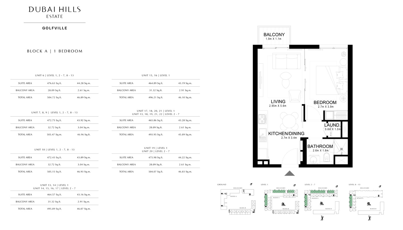 1 Bedroom  Type - 03 A, Size - 731.62 sq ft